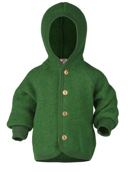 Jachetă fleece lână merinos - Engel - Green Melange