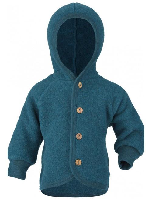 Jachetă fleece lână merinos - Engel - Petrol Melange