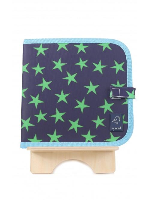 Carte refolosibilă pentru desen Blue & Green Stars - Doodle It & Go erasable book - Blue & Green Stars - Jaq Jaq Bird