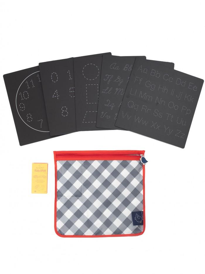 Set 5 planșe reutilizabile, 4 ButterStix® și husă cu fermoar - Bored Board Set - Letters - Jaq Jaq Bird