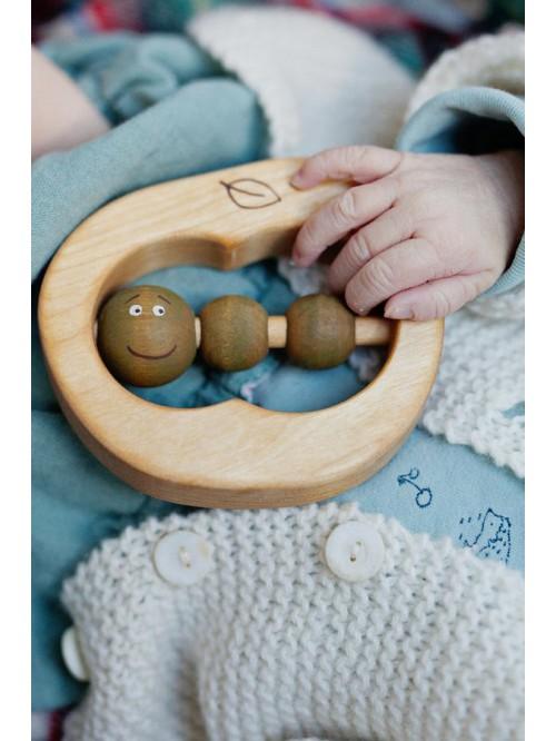Jucărie din lemn pentru dentiție - Friendly Toys - Apple Teether