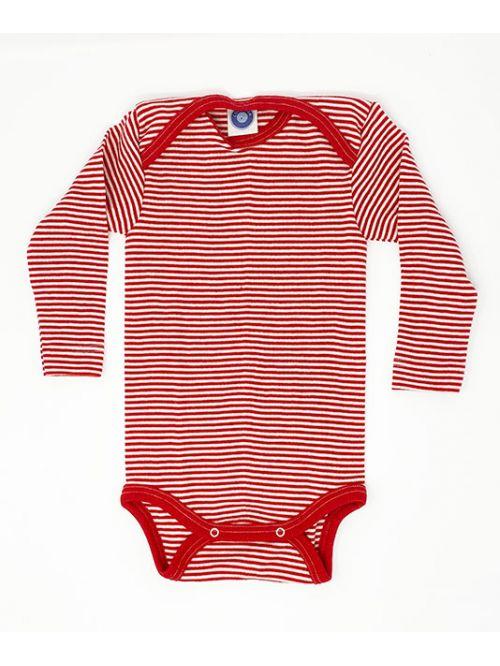 Body din lână merinos și mătase - Cosilana - Red Stripes