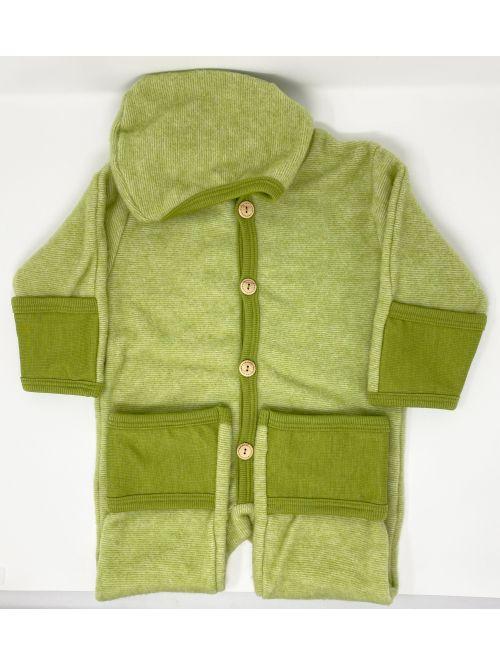 Overall fleece lână merinos cu mănuși și botoși- Cosilana - Lime Green Melange
