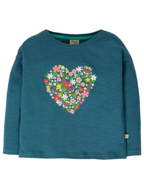 Bluză cu mânecă lunga bumbac organic - Frugi - Steely Blue Heart