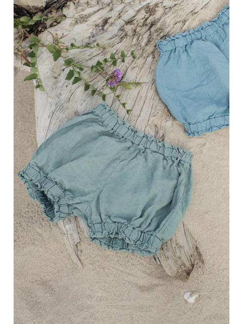 Pantaloni scurți din in pentru fete - La Petite Alice - Linen Shorts with Ruffles for Girls