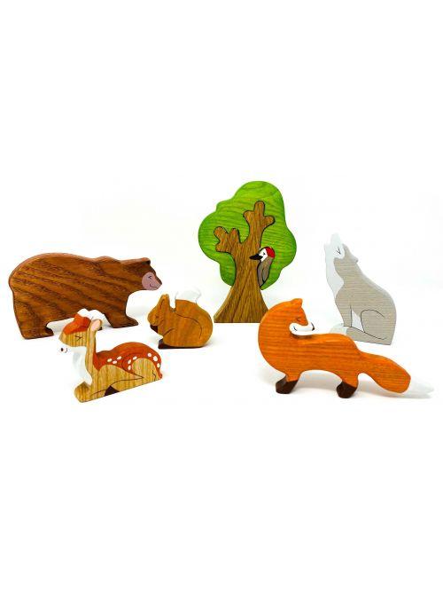 """Set figurine din lemn """"Bear""""- Wooden Caterpillar"""