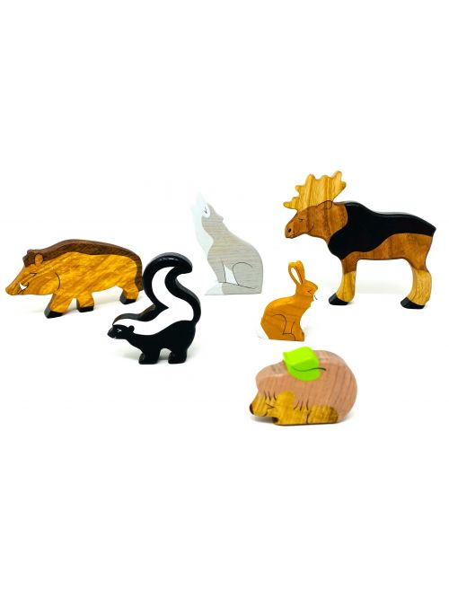 "Set figurine din lemn ""Wild Boar"" - Wooden Caterpillar"