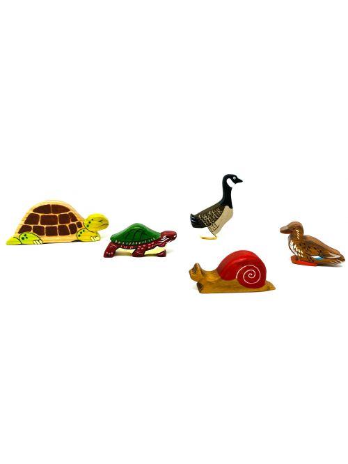 """Set figurine din lemn """"Brown Duck"""" - Wooden Caterpillar"""