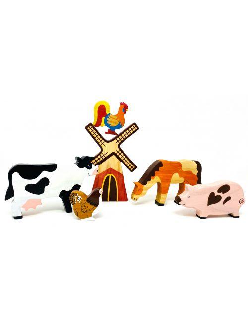 "Set figurine din lemn ""Farm"" - Wooden Caterpillar"