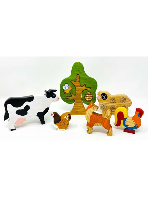 "Set figurine din lemn ""Rooster""- Wooden Caterpillar"