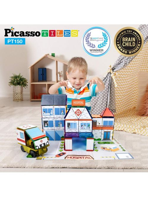 Set Picasso Tiles 3 În 1 Cu 150 De Piese - Școală/Spital/Stație De Poliție