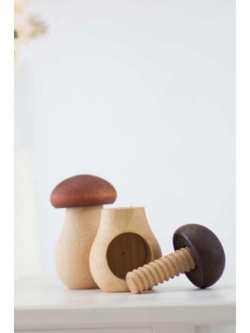 Jucărie de îndemânare, Montessori - Ciupercuța de înșurubat - Wooden Caterpillar