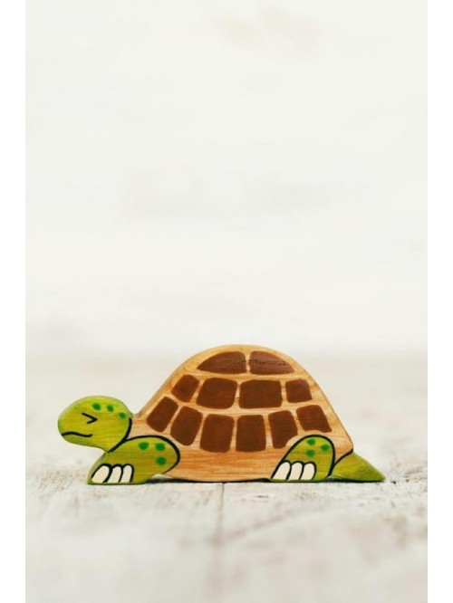 Figurină din lemn, lucrată manual - Broască țestoasă - Wooden Caterpillar