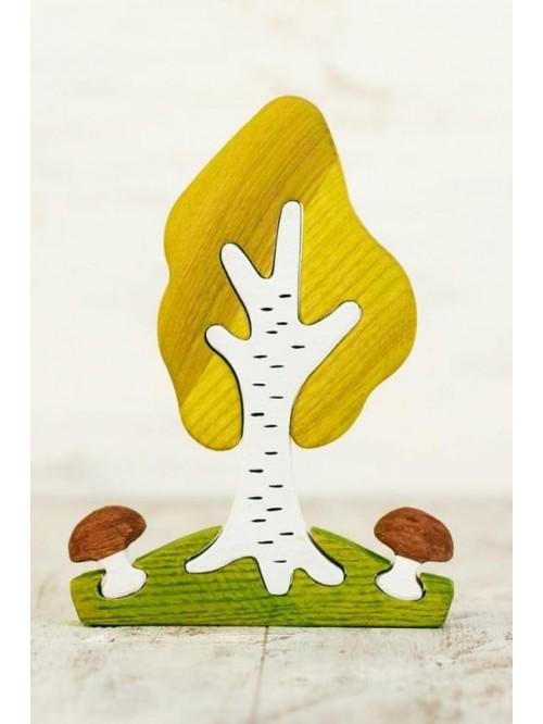 Copac Waldorf tip puzzle - Wooden Caterpillar - Mesteacăn