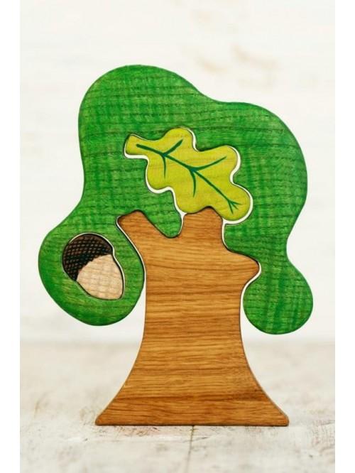 Copac Waldorf tip puzzle - Wooden Caterpillar - Stejar