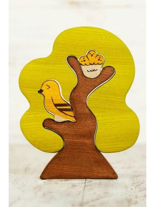 Copac Waldorf tip puzzle - Wooden Caterpillar - copac și păsărele