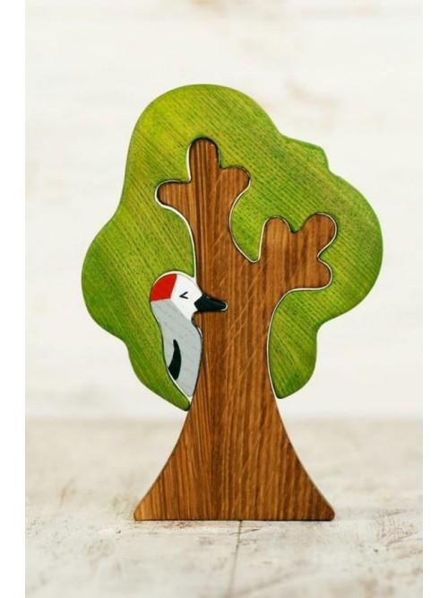 Copac Waldorf tip puzzle- Wooden Caterpillar- copac și ciocănitoare
