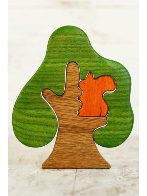 Copac Waldorf tip puzzle - Wooden Caterpillar - Copac si veverita