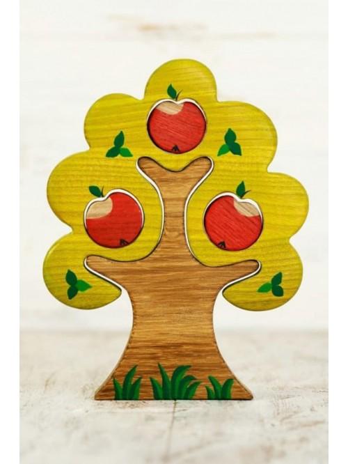 Copac Waldorf tip puzzle - Wooden Caterpillar - Măr