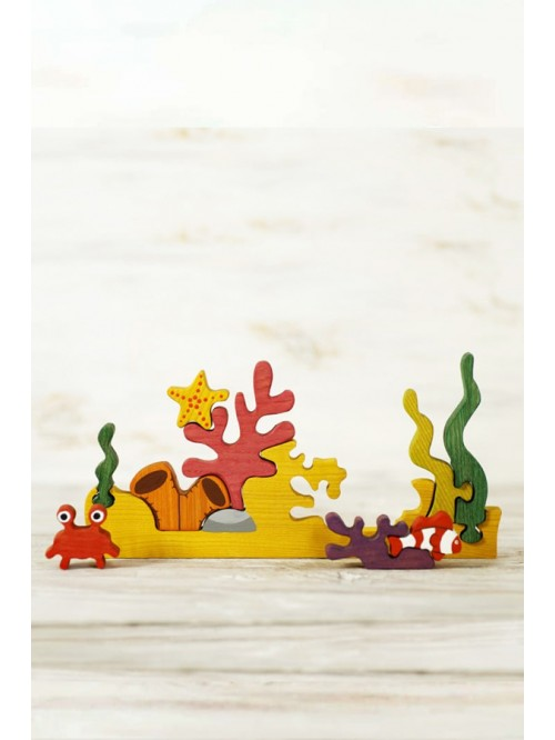 Puzzle Waldorf - Wooden Caterpillar - Reciful de corali