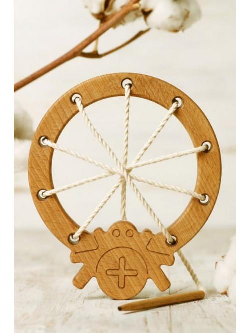 Jucărie de înșiruit Montessori - Wooden Caterpillar - Pânza de păianjen