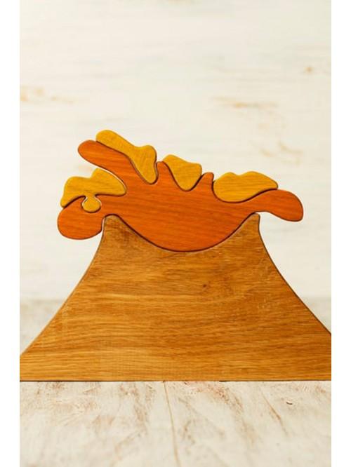 Jucărie Waldorf tip puzzle - Vulcan - Wooden Caterpillar