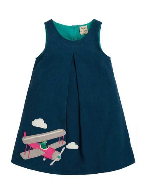 Rochie din bumbac organic - Frugi - Amber Applique Dress Space Blue Pilot