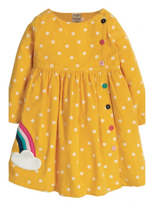 Rochie din bumbac organic - Frugi - Bonnie Button Dress Bumble Bee Spot Rainbow