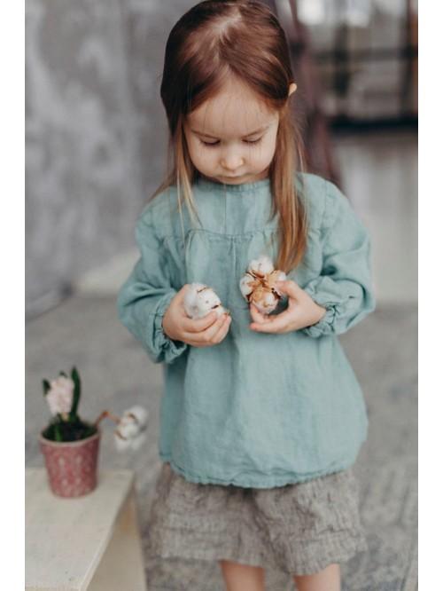 Bluză din in cu mânecă lungă - La Petite Alice - Linen Tunic for Girls