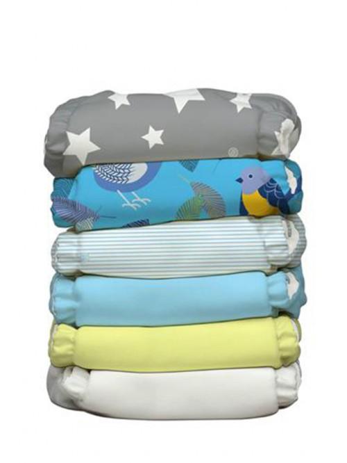 Set 6 scutece textile Charlie Banana Twitter Star cu 12 inserturi noi cu fleece (scutec hibrid, cu buzunar sau AIO)