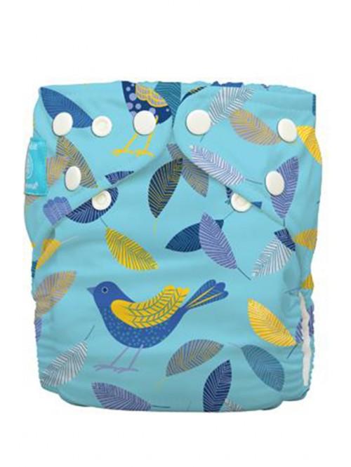 Scutec textil cu 2 inserturi noi cu fleece Charlie Banana Twitter Birds (scutec hibrid, cu buzunar sau AIO)